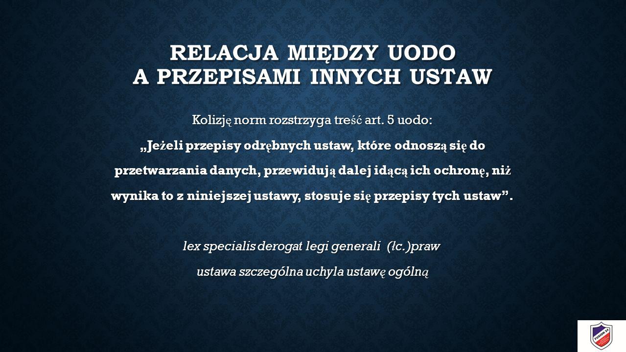 RELACJA MIĘDZY UODO A PRZEPISAMI INNYCH USTAW Kolizj ę norm rozstrzyga tre ść art.