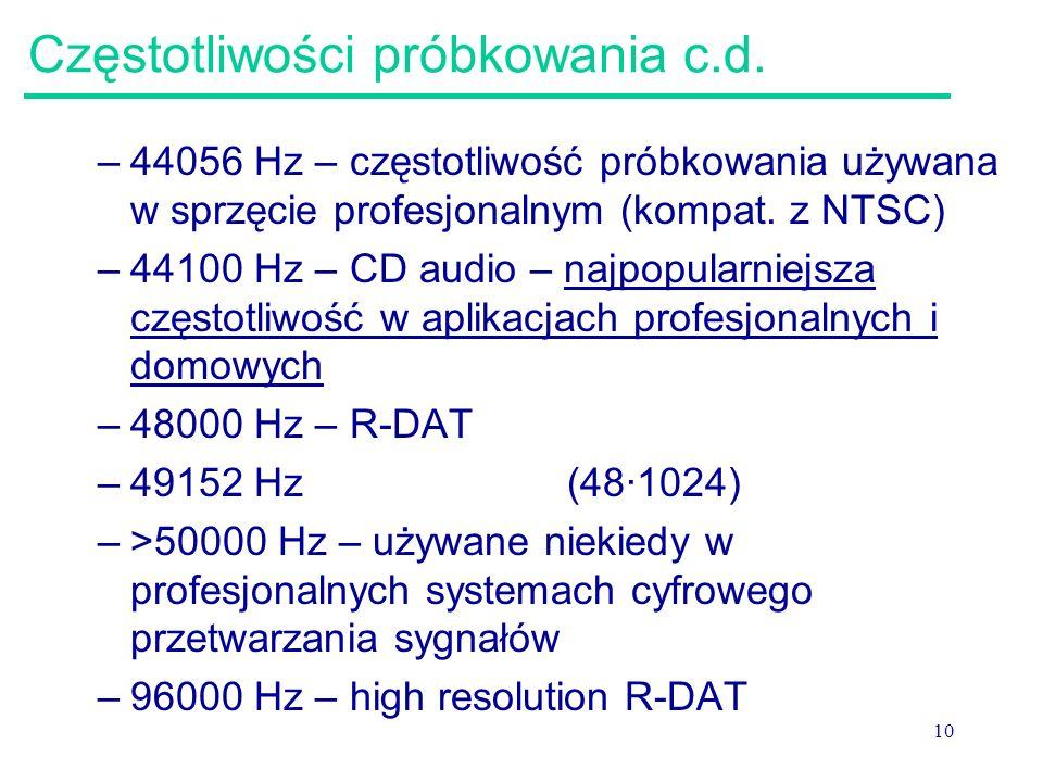 10 Częstotliwości próbkowania c.d. –44056 Hz – częstotliwość próbkowania używana w sprzęcie profesjonalnym (kompat. z NTSC) –44100 Hz – CD audio – naj