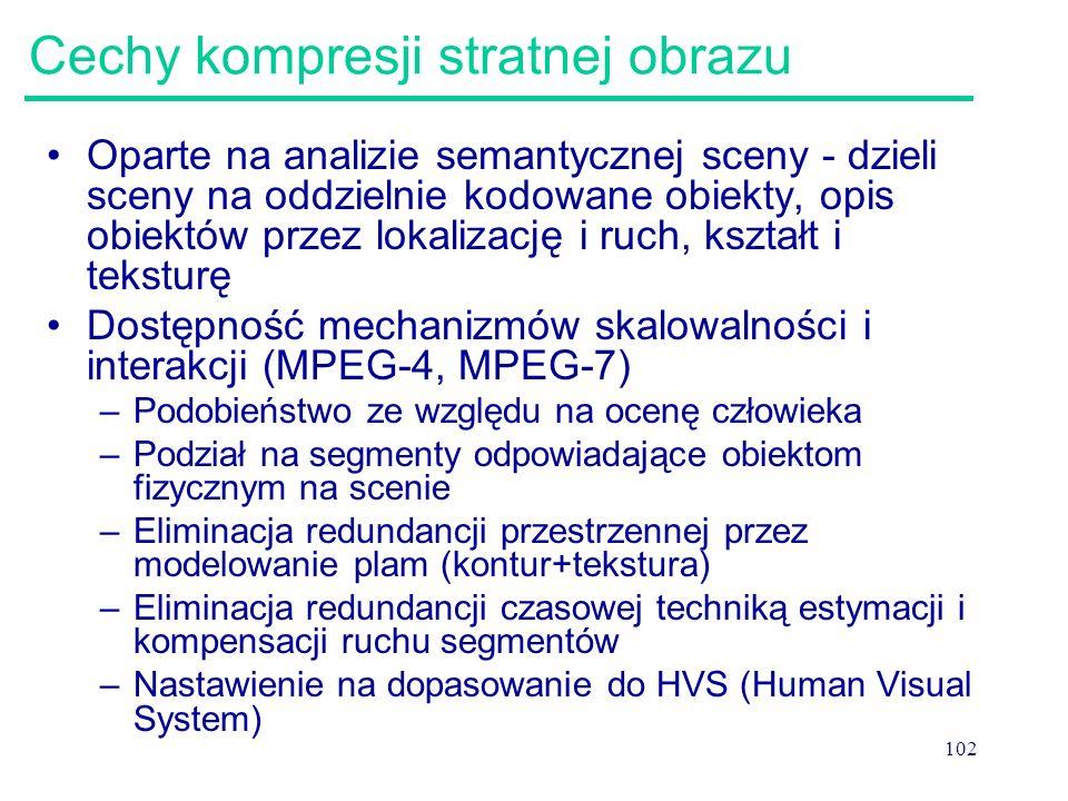 102 Cechy kompresji stratnej obrazu Oparte na analizie semantycznej sceny - dzieli sceny na oddzielnie kodowane obiekty, opis obiektów przez lokalizac