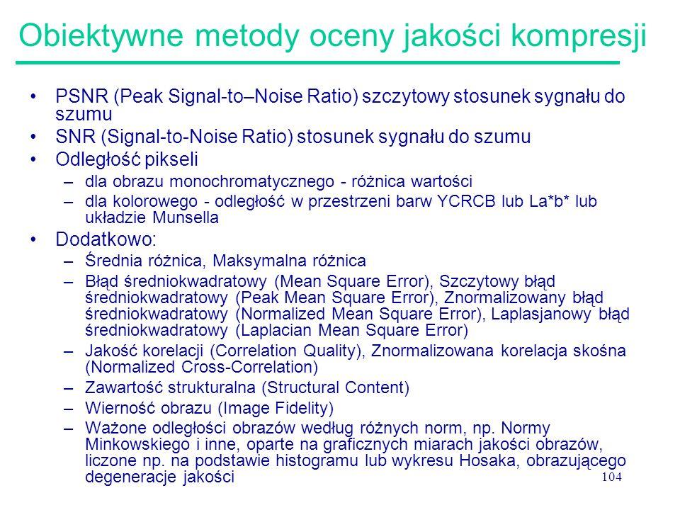 104 Obiektywne metody oceny jakości kompresji PSNR (Peak Signal-to–Noise Ratio) szczytowy stosunek sygnału do szumu SNR (Signal-to-Noise Ratio) stosun