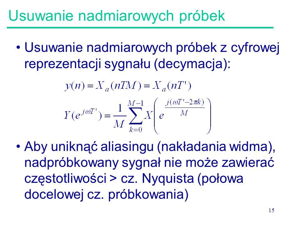 15 Usuwanie nadmiarowych próbek Usuwanie nadmiarowych próbek z cyfrowej reprezentacji sygnału (decymacja): Aby uniknąć aliasingu (nakładania widma), n