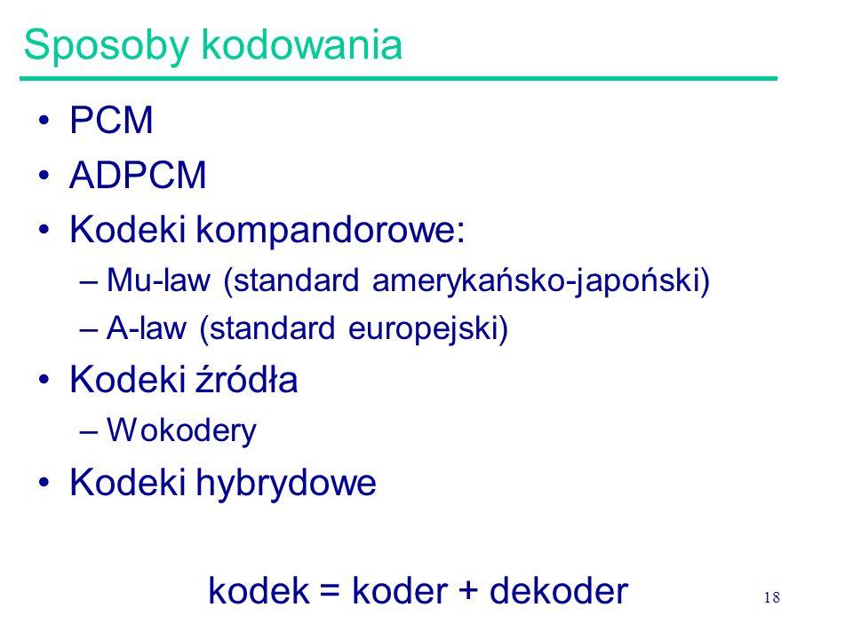 18 Sposoby kodowania PCM ADPCM Kodeki kompandorowe: –Mu-law (standard amerykańsko-japoński) –A-law (standard europejski) Kodeki źródła –Wokodery Kodek