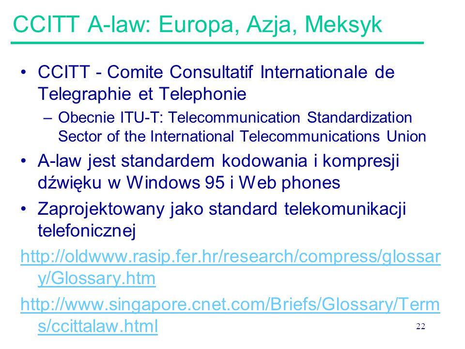 22 CCITT A-law: Europa, Azja, Meksyk CCITT - Comite Consultatif Internationale de Telegraphie et Telephonie –Obecnie ITU-T: Telecommunication Standard