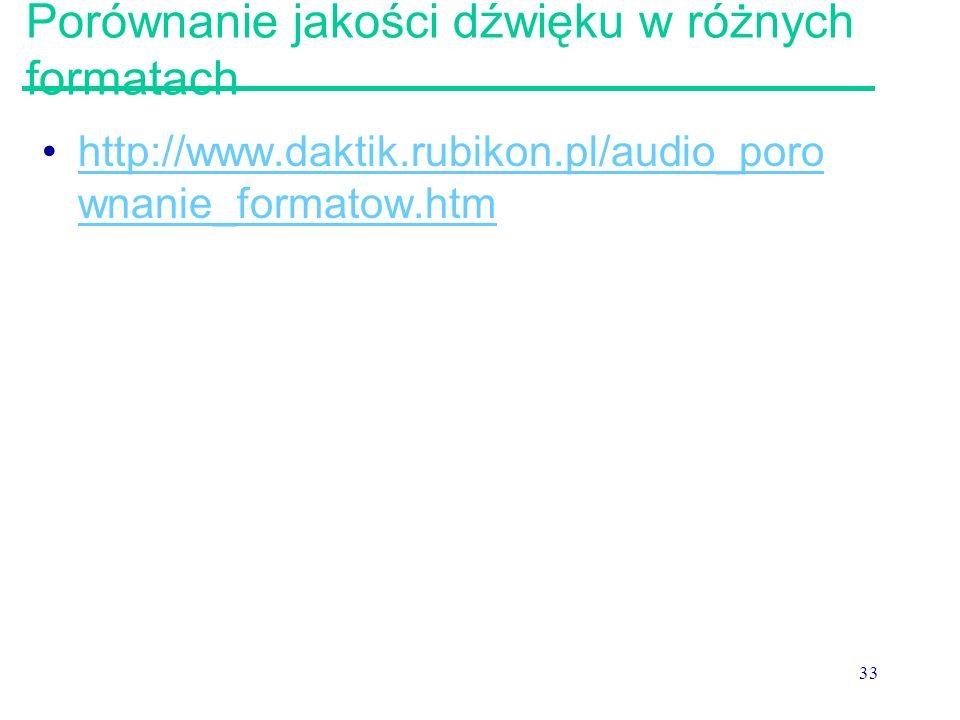 33 Porównanie jakości dźwięku w różnych formatach http://www.daktik.rubikon.pl/audio_poro wnanie_formatow.htmhttp://www.daktik.rubikon.pl/audio_poro w