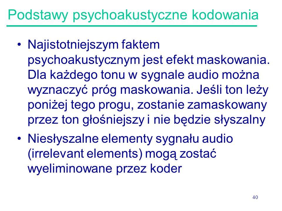 40 Podstawy psychoakustyczne kodowania Najistotniejszym faktem psychoakustycznym jest efekt maskowania. Dla każdego tonu w sygnale audio można wyznacz