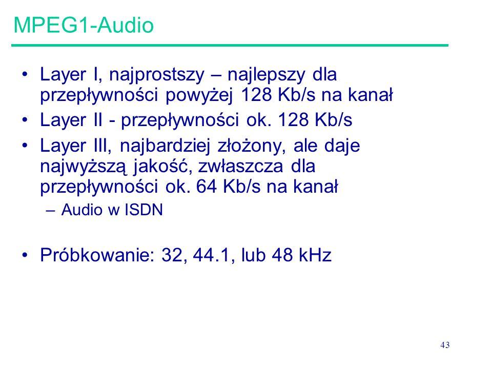 43 MPEG1-Audio Layer I, najprostszy – najlepszy dla przepływności powyżej 128 Kb/s na kanał Layer II - przepływności ok. 128 Kb/s Layer III, najbardzi