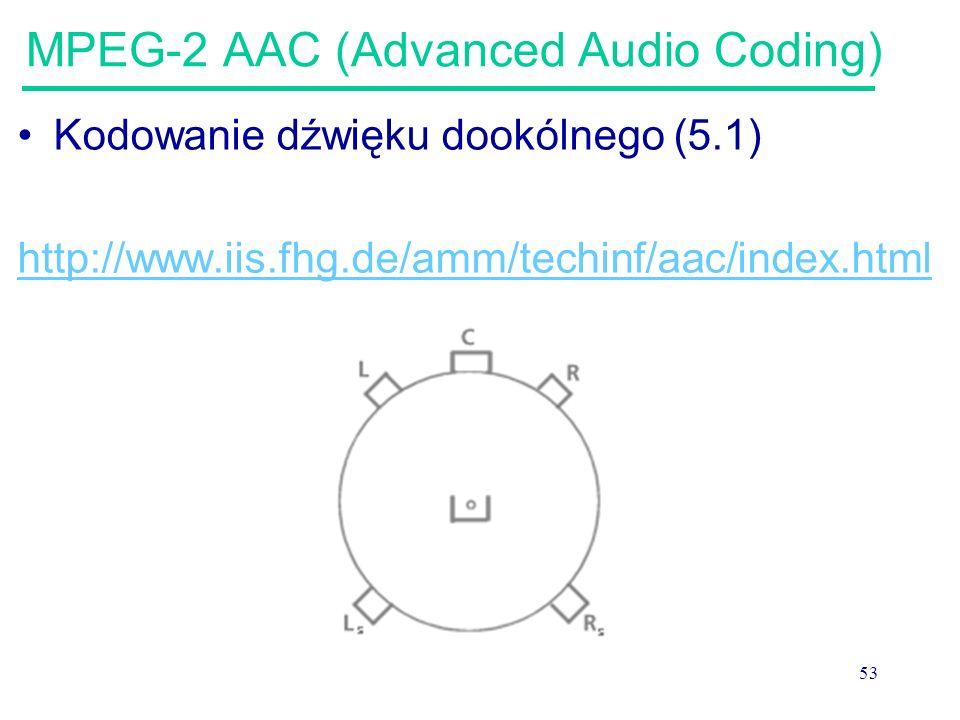 53 MPEG-2 AAC (Advanced Audio Coding) Kodowanie dźwięku dookólnego (5.1) http://www.iis.fhg.de/amm/techinf/aac/index.html