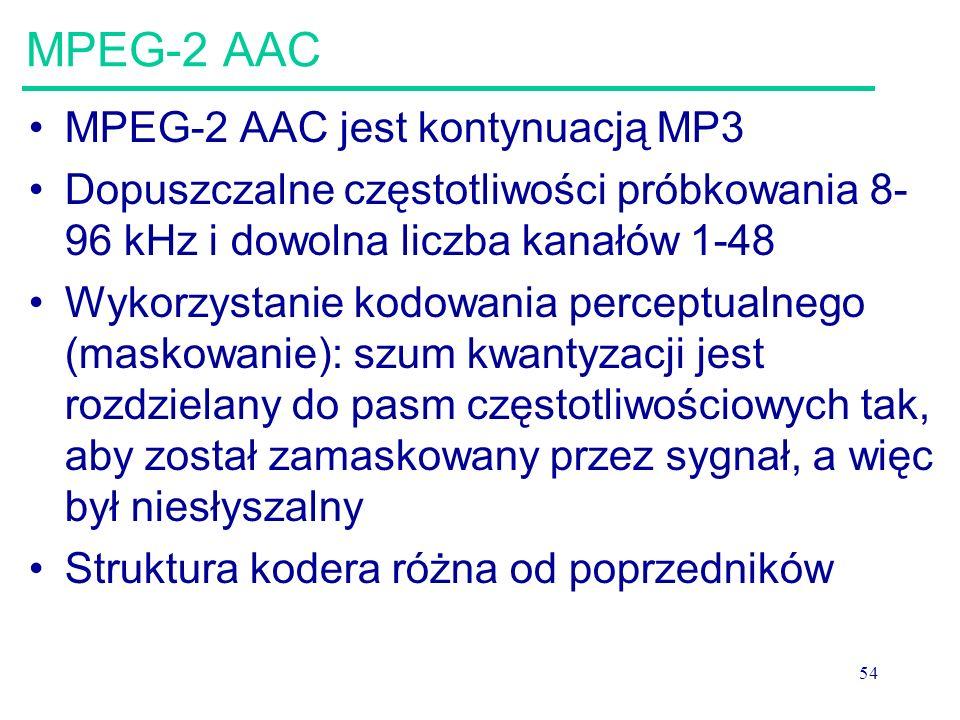 54 MPEG-2 AAC MPEG-2 AAC jest kontynuacją MP3 Dopuszczalne częstotliwości próbkowania 8- 96 kHz i dowolna liczba kanałów 1-48 Wykorzystanie kodowania