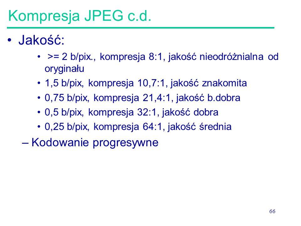 66 Kompresja JPEG c.d. Jakość: >= 2 b/pix., kompresja 8:1, jakość nieodróżnialna od oryginału 1,5 b/pix, kompresja 10,7:1, jakość znakomita 0,75 b/pix