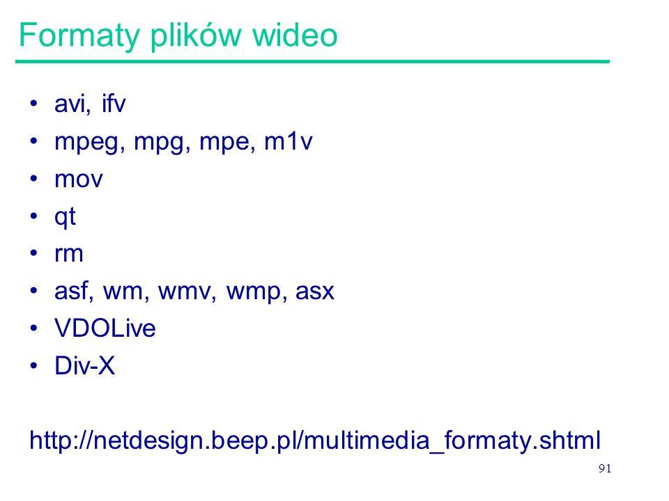 91 Formaty plików wideo avi, ifv mpeg, mpg, mpe, m1v mov qt rm asf, wm, wmv, wmp, asx VDOLive Div-X http://netdesign.beep.pl/multimedia_formaty.shtml
