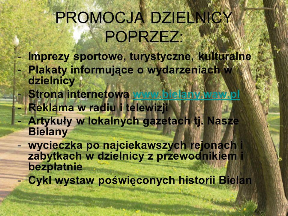 PROMOCJA DZIELNICY POPRZEZ: -Imprezy sportowe, turystyczne, kulturalne -Plakaty informujące o wydarzeniach w dzielnicy -Strona internetowa www.bielany.waw.plwww.bielany.waw.pl -Reklama w radiu i telewizji -Artykuły w lokalnych gazetach tj.
