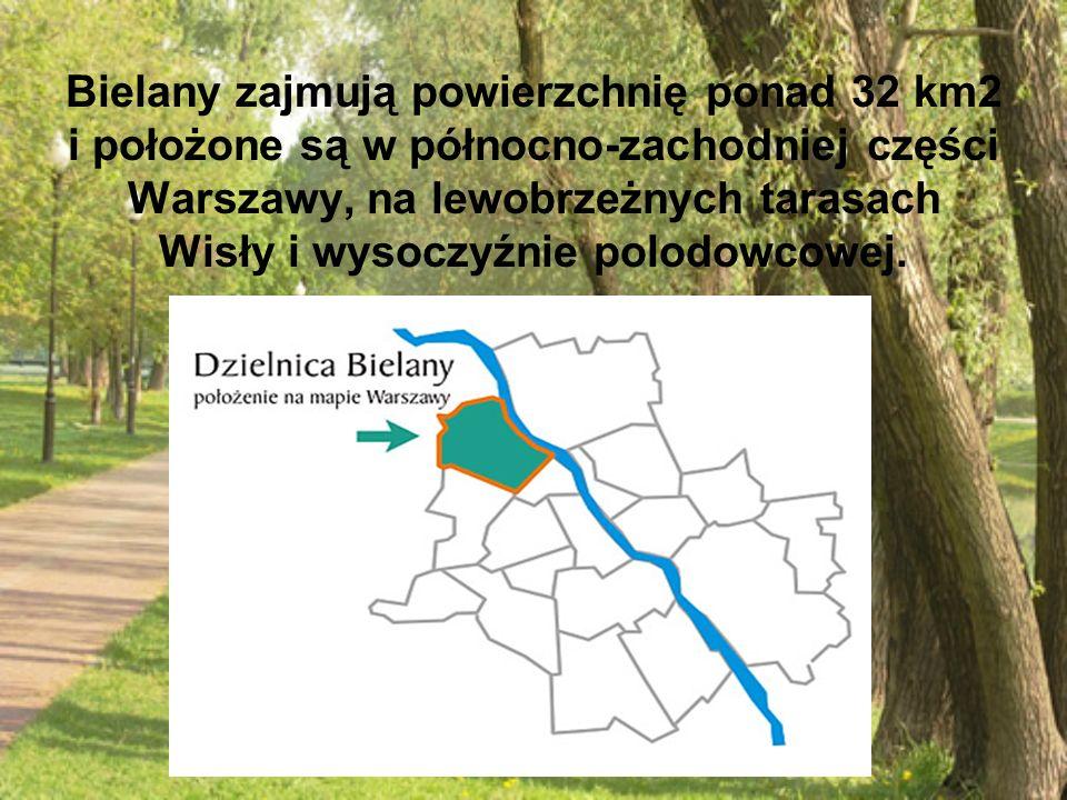 Bielany zajmują powierzchnię ponad 32 km2 i położone są w północno-zachodniej części Warszawy, na lewobrzeżnych tarasach Wisły i wysoczyźnie polodowco