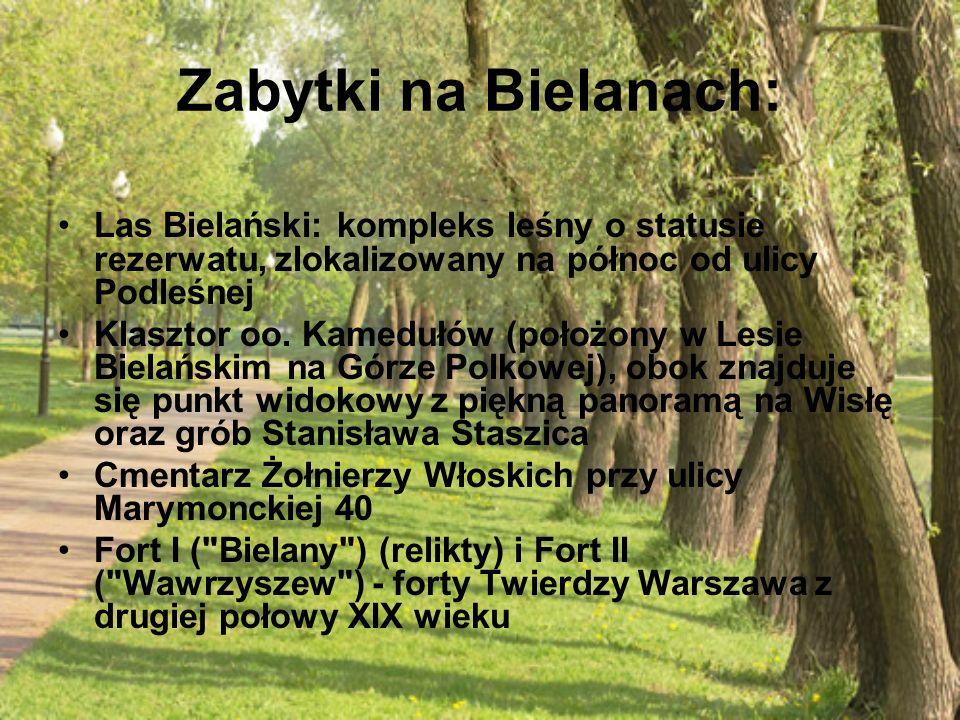 Zabytki na Bielanach: Las Bielański: kompleks leśny o statusie rezerwatu, zlokalizowany na północ od ulicy Podleśnej Klasztor oo. Kamedułów (położony