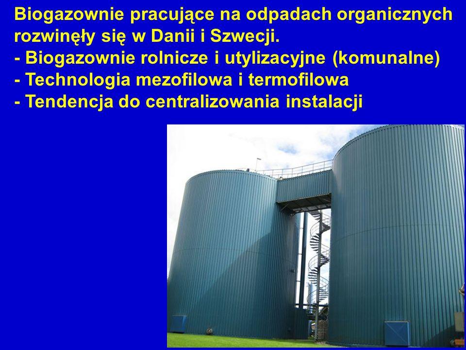 Biogazownie pracujące na odpadach organicznych rozwinęły się w Danii i Szwecji. - Biogazownie rolnicze i utylizacyjne (komunalne) - Technologia mezofi