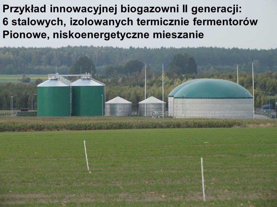Przykład innowacyjnej biogazowni II generacji: 6 stalowych, izolowanych termicznie fermentorów Pionowe, niskoenergetyczne mieszanie