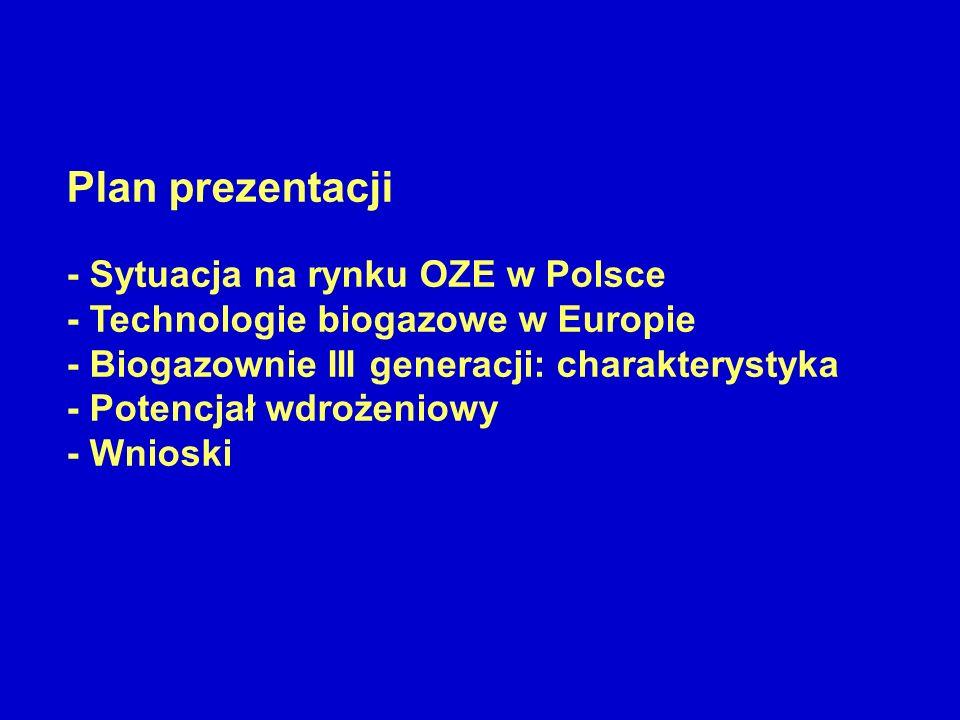 Plan prezentacji - Sytuacja na rynku OZE w Polsce - Technologie biogazowe w Europie - Biogazownie III generacji: charakterystyka - Potencjał wdrożenio