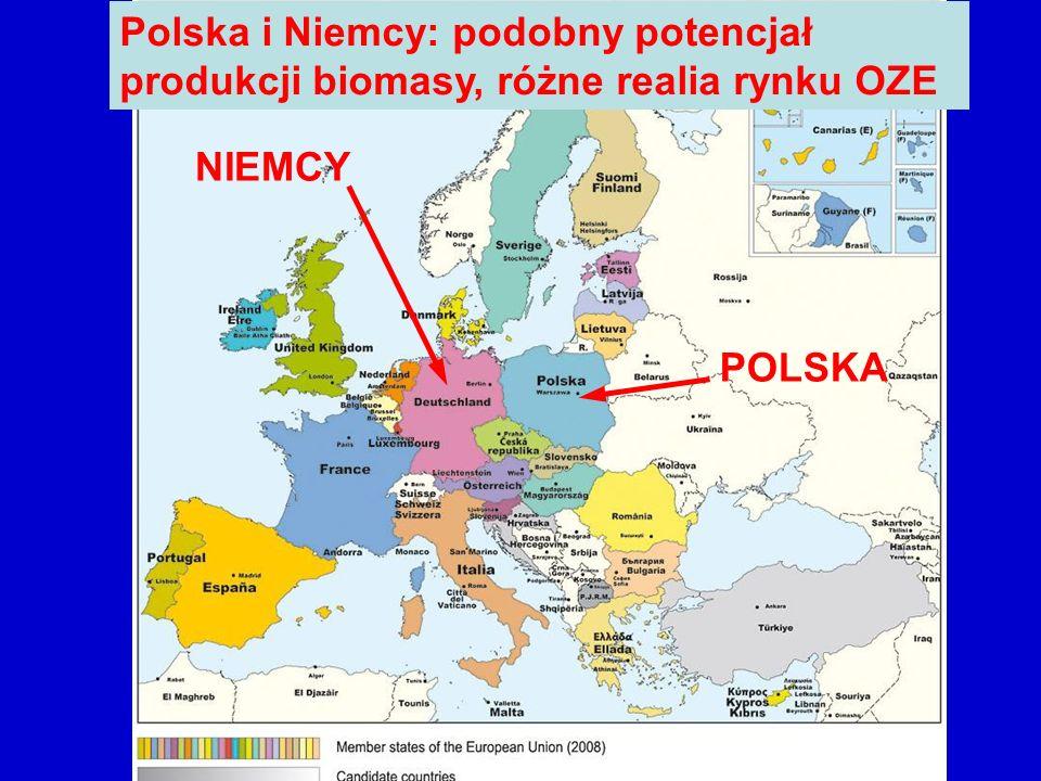 POLSKA NIEMCY Polska i Niemcy: podobny potencjał produkcji biomasy, różne realia rynku OZE