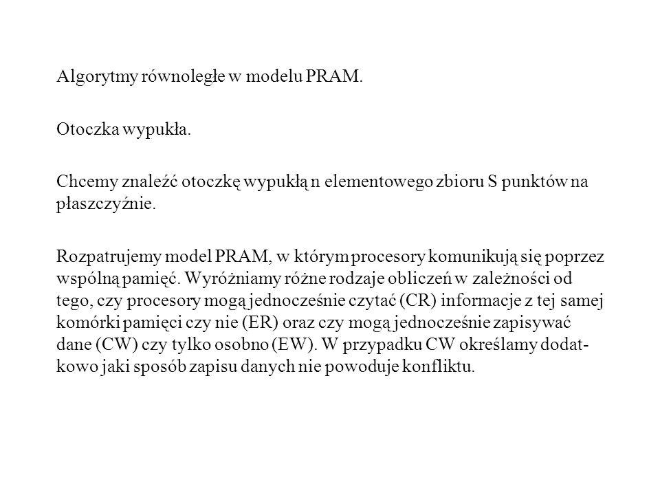 Algorytmy równoległe w modelu PRAM. Otoczka wypukła.