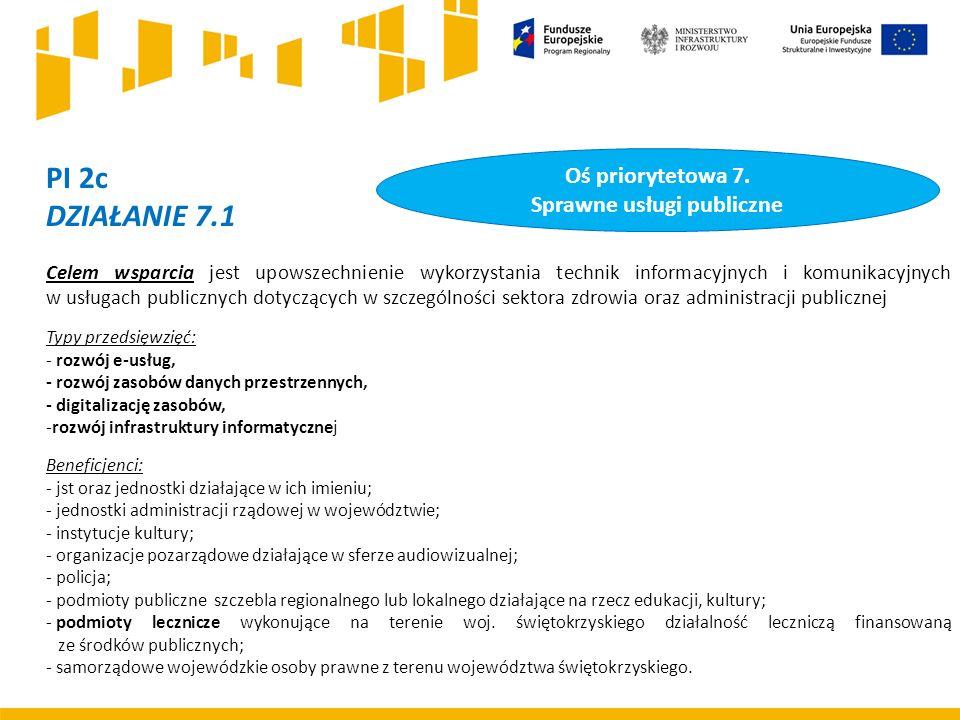 PI 2c DZIAŁANIE 7.1 Celem wsparcia jest upowszechnienie wykorzystania technik informacyjnych i komunikacyjnych w usługach publicznych dotyczących w szczególności sektora zdrowia oraz administracji publicznej Typy przedsięwzięć: - rozwój e-usług, - rozwój zasobów danych przestrzennych, - digitalizację zasobów, -rozwój infrastruktury informatycznej Beneficjenci: - jst oraz jednostki działające w ich imieniu; - jednostki administracji rządowej w województwie; - instytucje kultury; - organizacje pozarządowe działające w sferze audiowizualnej; - policja; - podmioty publiczne szczebla regionalnego lub lokalnego działające na rzecz edukacji, kultury; - podmioty lecznicze wykonujące na terenie woj.