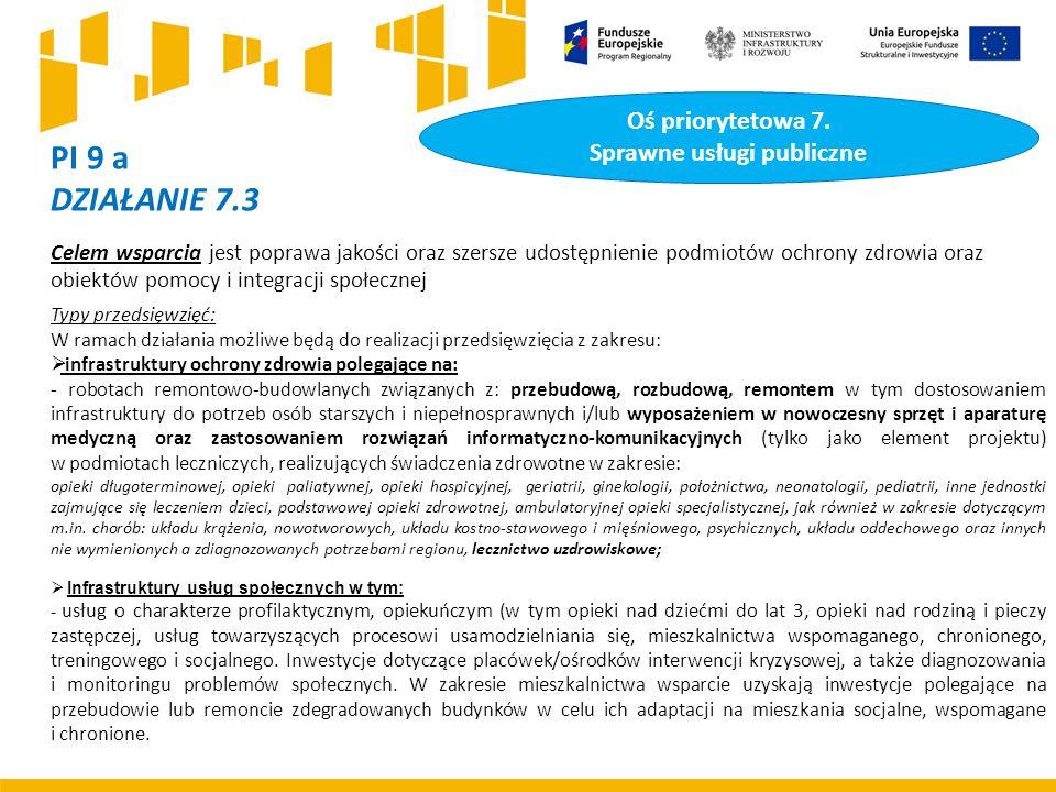PI 9 a DZIAŁANIE 7.3 Celem wsparcia jest poprawa jakości oraz szersze udostępnienie podmiotów ochrony zdrowia oraz obiektów pomocy i integracji społecznej Typy przedsięwzięć: W ramach działania możliwe będą do realizacji przedsięwzięcia z zakresu:  infrastruktury ochrony zdrowia polegające na: - robotach remontowo-budowlanych związanych z: przebudową, rozbudową, remontem w tym dostosowaniem infrastruktury do potrzeb osób starszych i niepełnosprawnych i/lub wyposażeniem w nowoczesny sprzęt i aparaturę medyczną oraz zastosowaniem rozwiązań informatyczno-komunikacyjnych (tylko jako element projektu) w podmiotach leczniczych, realizujących świadczenia zdrowotne w zakresie: opieki długoterminowej, opieki paliatywnej, opieki hospicyjnej, geriatrii, ginekologii, położnictwa, neonatologii, pediatrii, inne jednostki zajmujące się leczeniem dzieci, podstawowej opieki zdrowotnej, ambulatoryjnej opieki specjalistycznej, jak również w zakresie dotyczącym m.in.