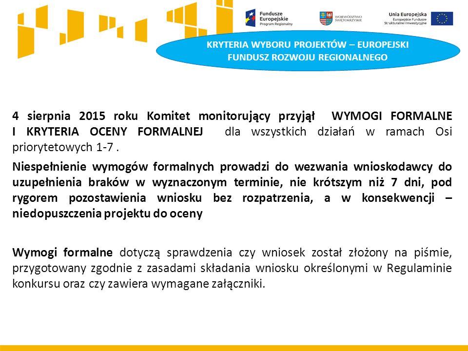 KRYTERIA WYBORU PROJEKTÓW – EUROPEJSKI FUNDUSZ ROZWOJU REGIONALNEGO 4 sierpnia 2015 roku Komitet monitorujący przyjął WYMOGI FORMALNE I KRYTERIA OCENY FORMALNEJ dla wszystkich działań w ramach Osi priorytetowych 1-7.