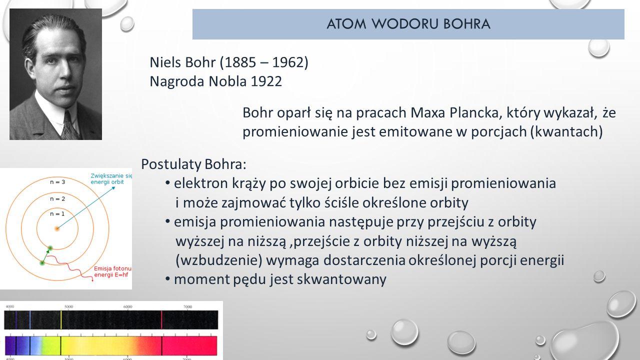 ATOM WODORU BOHRA Niels Bohr (1885 – 1962) Nagroda Nobla 1922 Postulaty Bohra: elektron krąży po swojej orbicie bez emisji promieniowania i może zajmować tylko ściśle określone orbity emisja promieniowania następuje przy przejściu z orbity wyższej na niższą,przejście z orbity niższej na wyższą (wzbudzenie) wymaga dostarczenia określonej porcji energii moment pędu jest skwantowany Bohr oparł się na pracach Maxa Plancka, który wykazał, że promieniowanie jest emitowane w porcjach (kwantach)