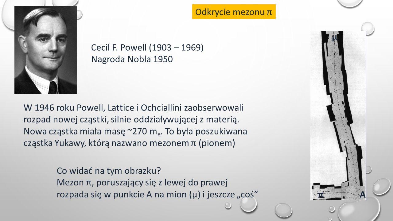 Odkrycie mezonu π Cecil F. Powell (1903 – 1969) Nagroda Nobla 1950 Co widać na tym obrazku.