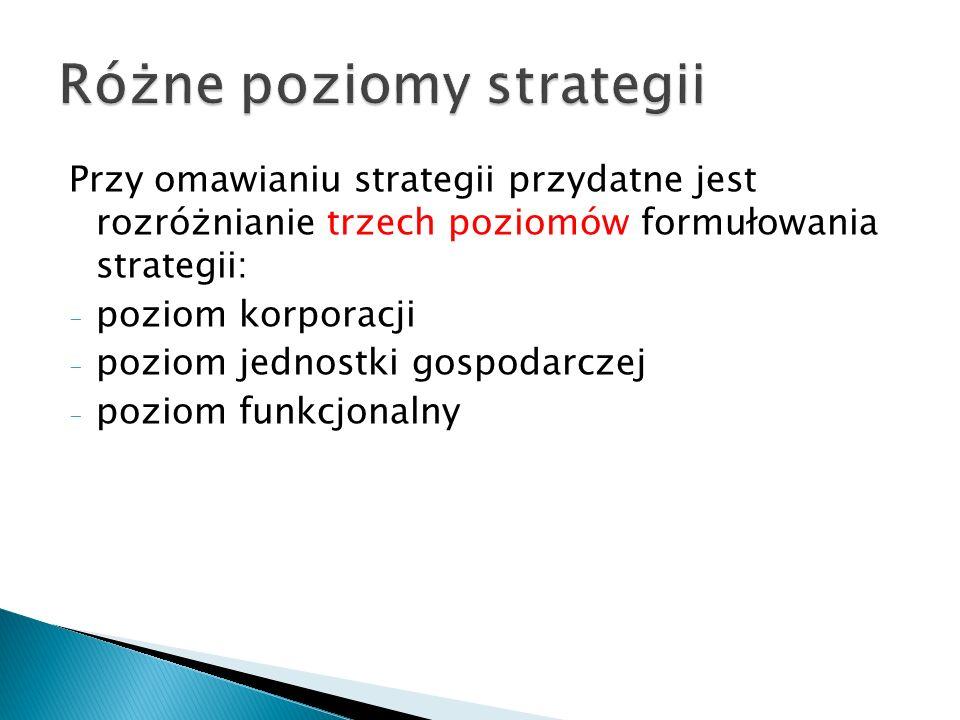 Przy omawianiu strategii przydatne jest rozróżnianie trzech poziomów formułowania strategii: - poziom korporacji - poziom jednostki gospodarczej - poziom funkcjonalny