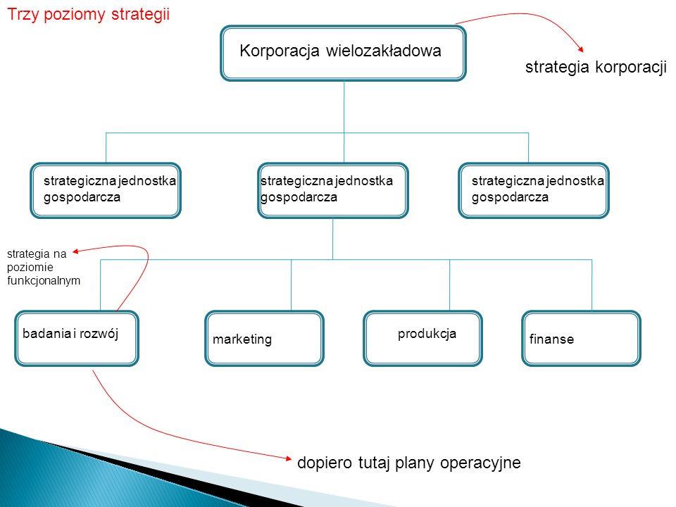 Korporacja wielozakładowa strategiczna jednostka gospodarcza strategiczna jednostka gospodarcza strategiczna jednostka gospodarcza badania i rozwój marketing produkcja Trzy poziomy strategii finanse strategia korporacji dopiero tutaj plany operacyjne strategia na poziomie funkcjonalnym