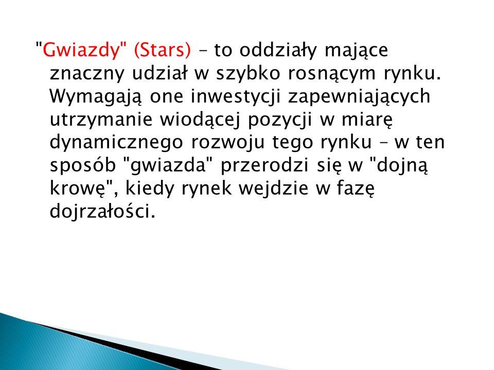 Gwiazdy (Stars) – to oddziały mające znaczny udział w szybko rosnącym rynku.