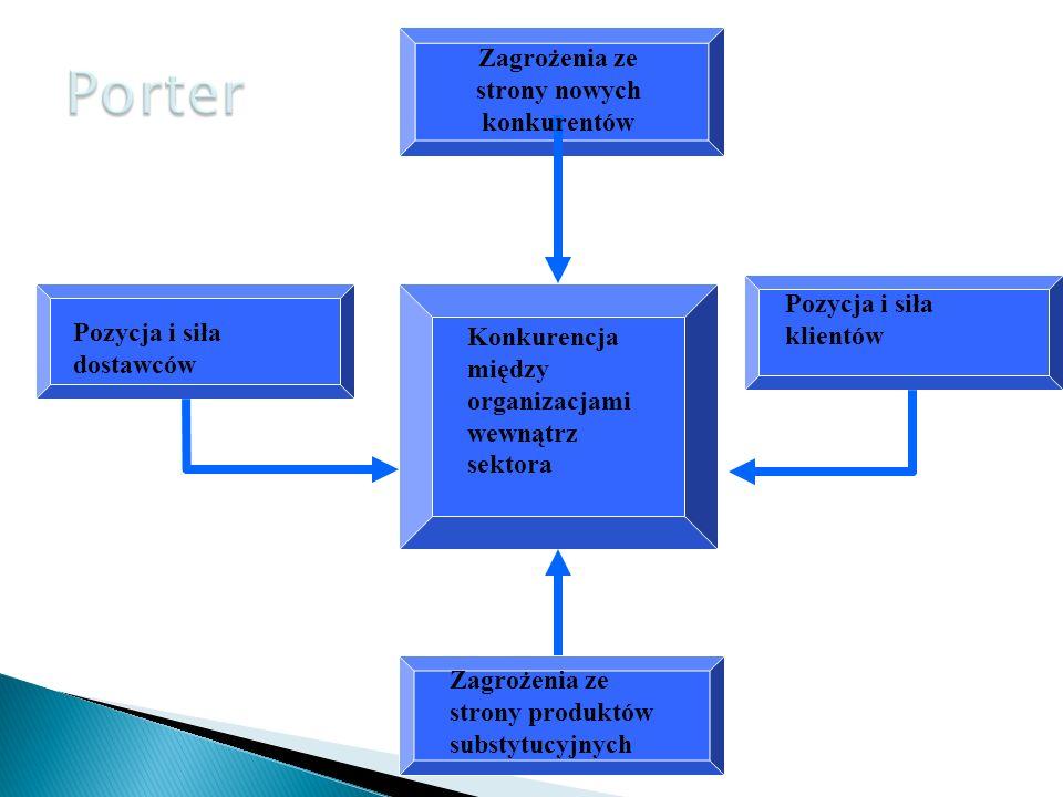 PJWSTK 2009/1040 Zagrożenia ze strony nowych konkurentów Pozycja i siła klientów Zagrożenia ze strony produktów substytucyjnych Pozycja i siła dostawców Konkurencja między organizacjami wewnątrz sektora