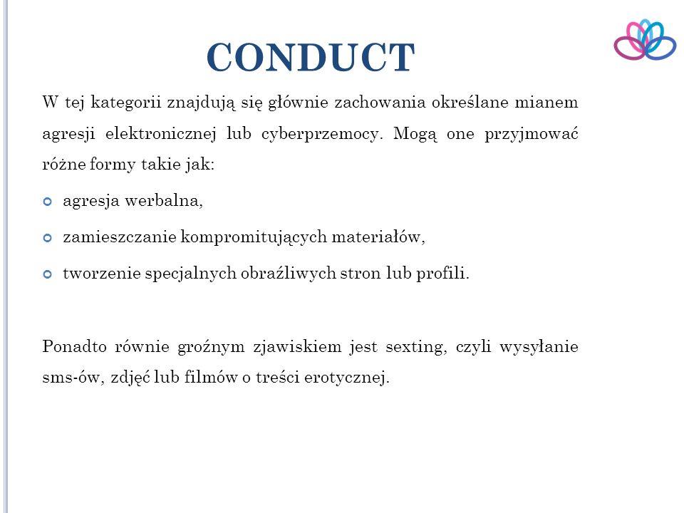 CONDUCT W tej kategorii znajdują się głównie zachowania określane mianem agresji elektronicznej lub cyberprzemocy.