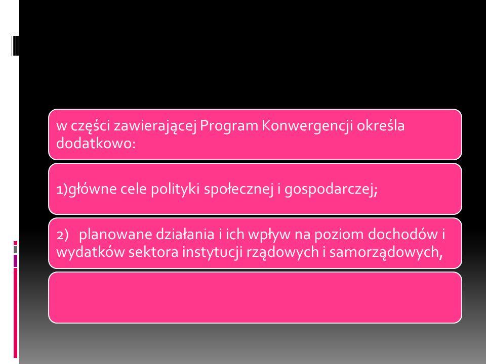 w części zawierającej Program Konwergencji określa dodatkowo: 1)główne cele polityki społecznej i gospodarczej; 2) planowane działania i ich wpływ na