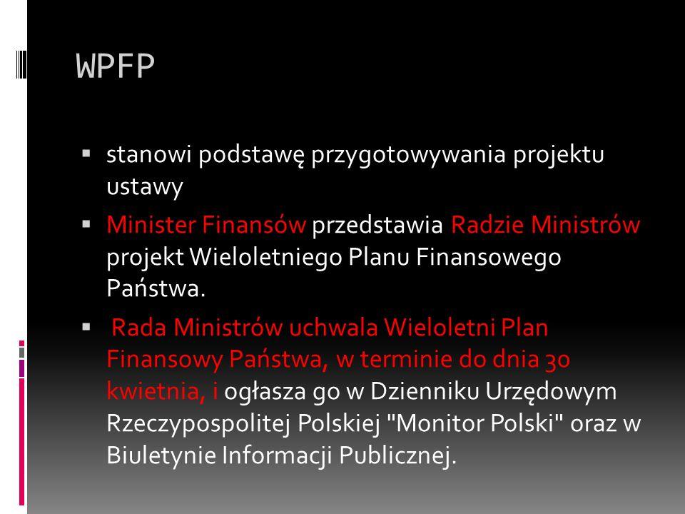 WPFP  stanowi podstawę przygotowywania projektu ustawy  Minister Finansów przedstawia Radzie Ministrów projekt Wieloletniego Planu Finansowego Państ