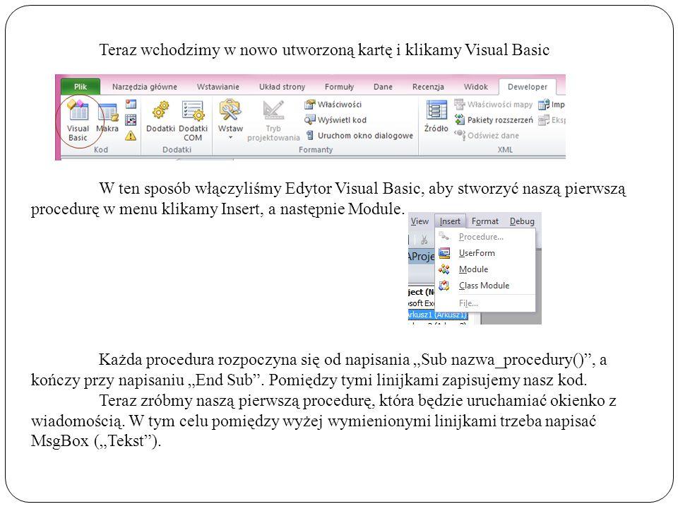 Teraz wchodzimy w nowo utworzoną kartę i klikamy Visual Basic W ten sposób włączyliśmy Edytor Visual Basic, aby stworzyć naszą pierwszą procedurę w menu klikamy Insert, a następnie Module.