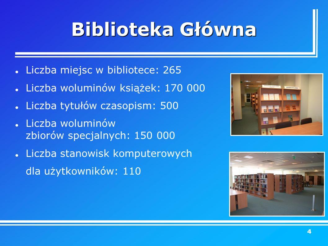 Biblioteka Główna Liczba miejsc w bibliotece: 265 Liczba woluminów książek: 170 000 Liczba tytułów czasopism: 500 Liczba woluminów zbiorów specjalnych: 150 000 Liczba stanowisk komputerowych dla użytkowników: 110 4