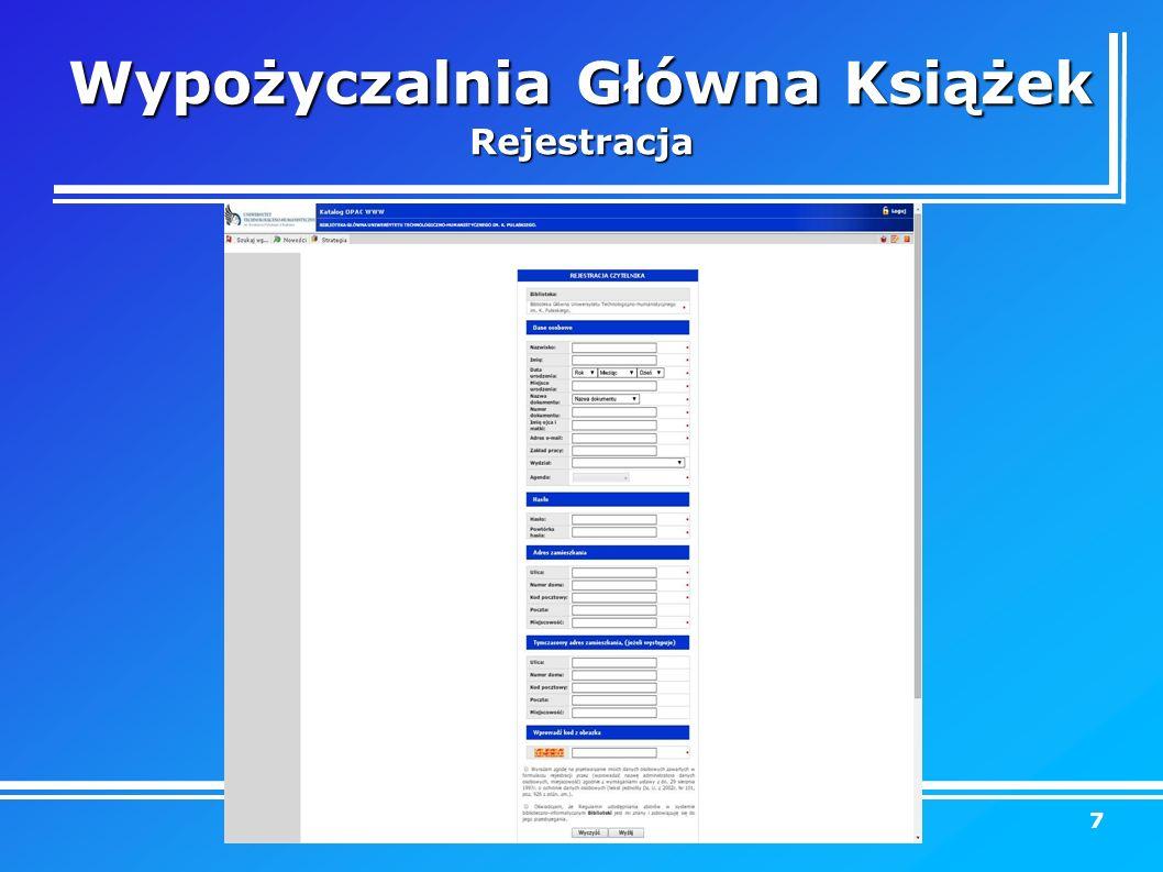 Wypożyczalnia Główna Książek Rejestracja 7