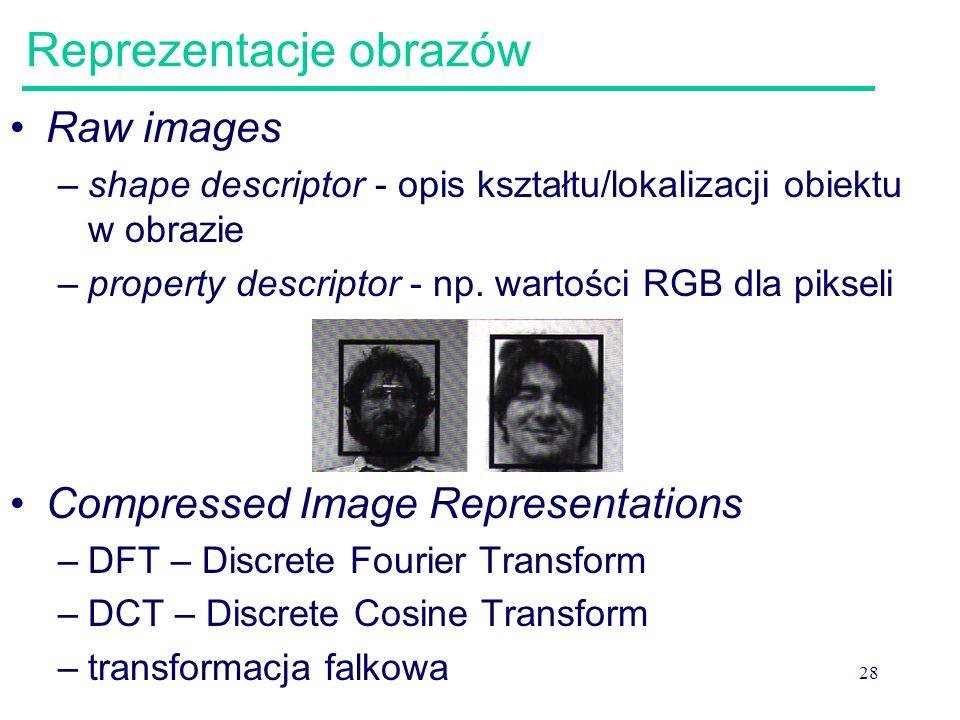 28 Reprezentacje obrazów Raw images –shape descriptor - opis kształtu/lokalizacji obiektu w obrazie –property descriptor - np. wartości RGB dla piksel