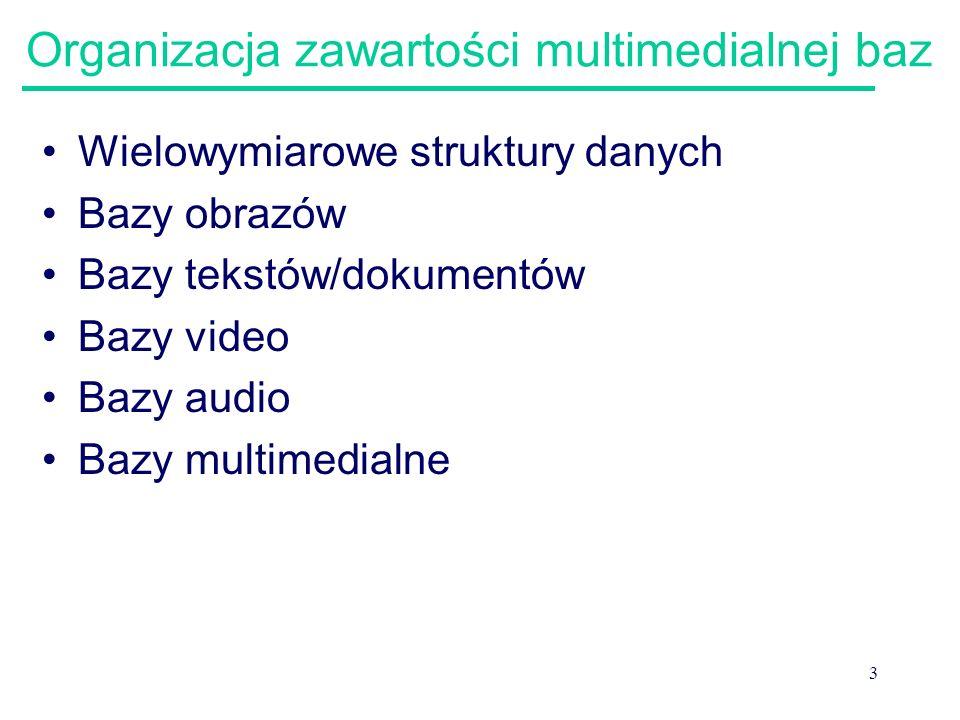 3 Organizacja zawartości multimedialnej baz Wielowymiarowe struktury danych Bazy obrazów Bazy tekstów/dokumentów Bazy video Bazy audio Bazy multimedia
