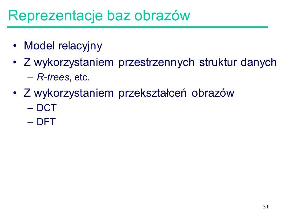 31 Reprezentacje baz obrazów Model relacyjny Z wykorzystaniem przestrzennych struktur danych –R-trees, etc. Z wykorzystaniem przekształceń obrazów –DC