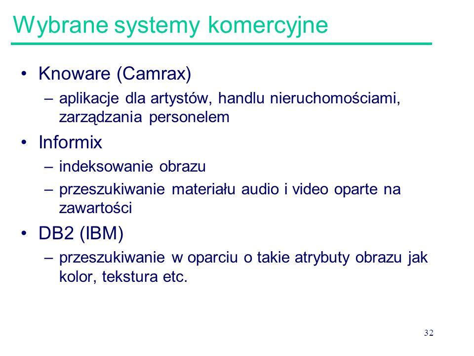 32 Wybrane systemy komercyjne Knoware (Camrax) –aplikacje dla artystów, handlu nieruchomościami, zarządzania personelem Informix –indeksowanie obrazu