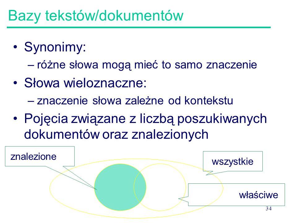 34 Bazy tekstów/dokumentów Synonimy: –różne słowa mogą mieć to samo znaczenie Słowa wieloznaczne: –znaczenie słowa zależne od kontekstu Pojęcia związa