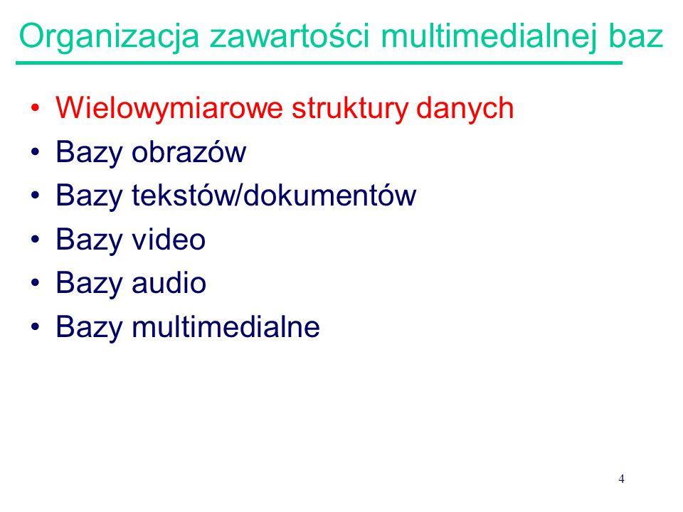 4 Organizacja zawartości multimedialnej baz Wielowymiarowe struktury danych Bazy obrazów Bazy tekstów/dokumentów Bazy video Bazy audio Bazy multimedia