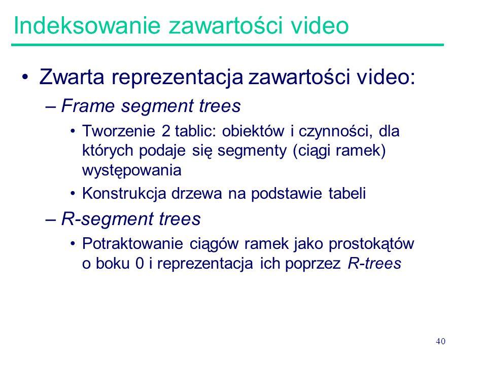 40 Indeksowanie zawartości video Zwarta reprezentacja zawartości video: –Frame segment trees Tworzenie 2 tablic: obiektów i czynności, dla których pod