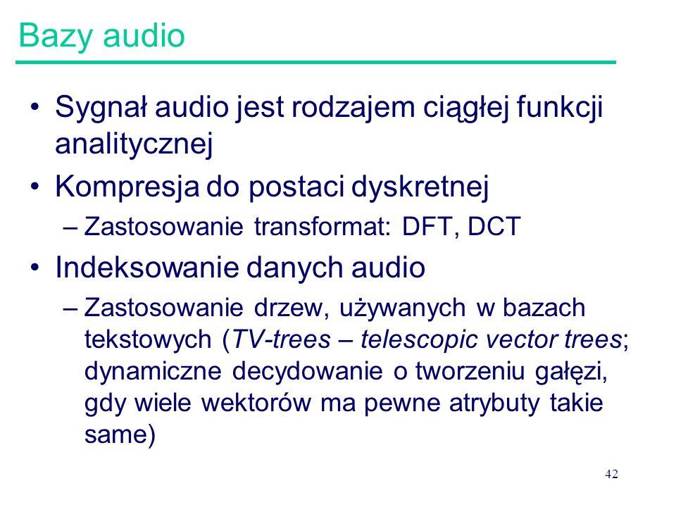 42 Bazy audio Sygnał audio jest rodzajem ciągłej funkcji analitycznej Kompresja do postaci dyskretnej –Zastosowanie transformat: DFT, DCT Indeksowanie