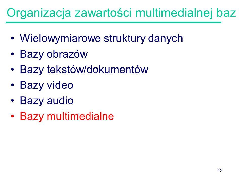 45 Organizacja zawartości multimedialnej baz Wielowymiarowe struktury danych Bazy obrazów Bazy tekstów/dokumentów Bazy video Bazy audio Bazy multimedi