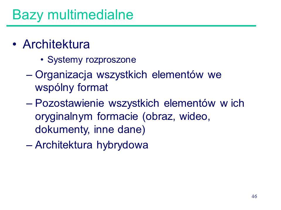 46 Bazy multimedialne Architektura Systemy rozproszone –Organizacja wszystkich elementów we wspólny format –Pozostawienie wszystkich elementów w ich o
