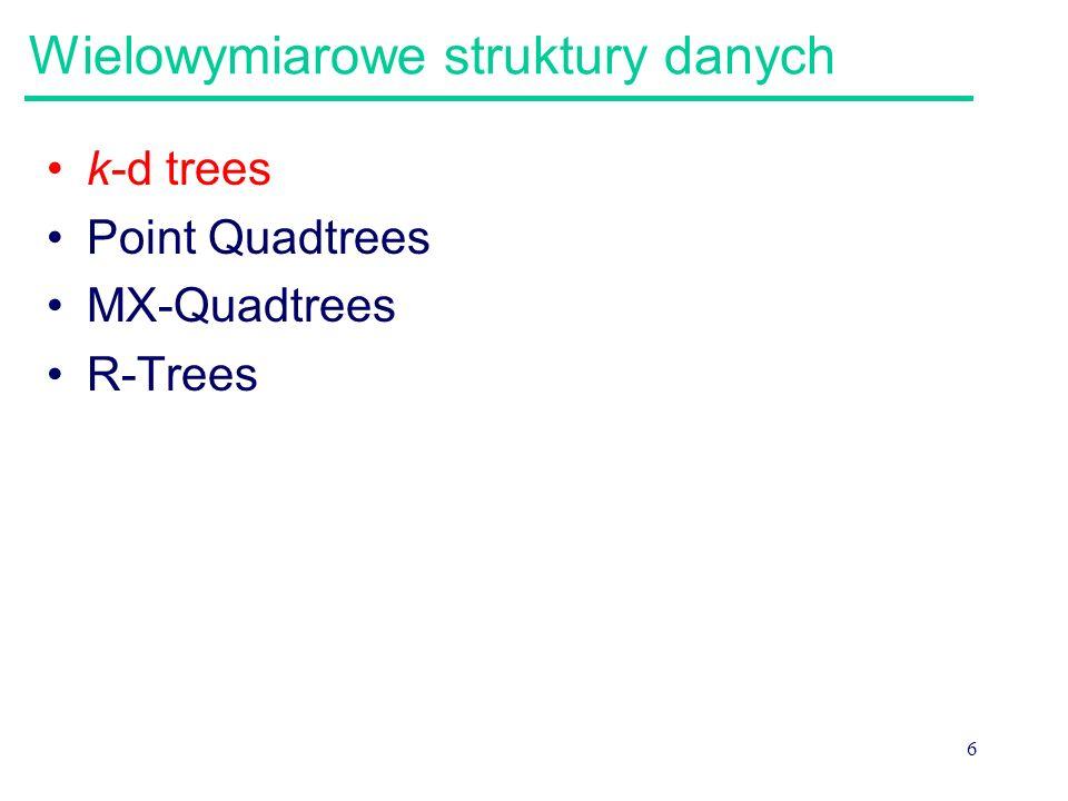 7 k-d trees k-d trees używane są do przechowywania k- wymiarowego punktu danych, np. punktów mapy