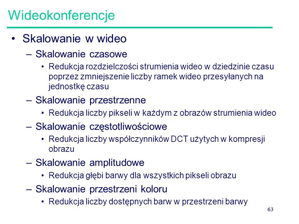 63 Wideokonferencje Skalowanie w wideo –Skalowanie czasowe Redukcja rozdzielczości strumienia wideo w dziedzinie czasu poprzez zmniejszenie liczby ram