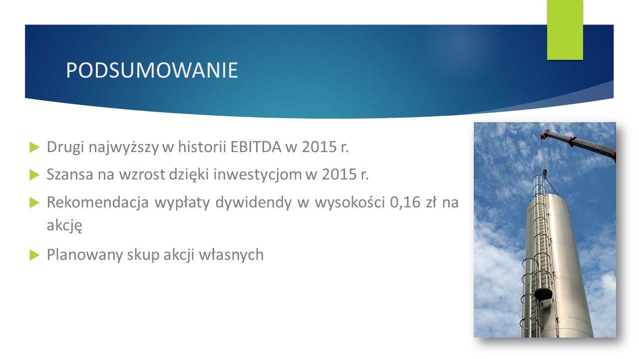  Drugi najwyższy w historii EBITDA w 2015 r.  Szansa na wzrost dzięki inwestycjom w 2015 r.
